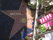 """A pink star with the writing """"Michael Jackson"""" and a gold colored rim. The star is surrounded by a metal silver colored barrier and flowers. There are also blue confetti and pink rose bud pedals on top of the star."""
