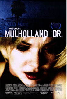 Theatrical release poster showing the film's title against a dark blue image of the Hollywood sign in Los Angeles atop another still shot of Laura Elena Harring in a blond wig staring at something off camera toward the lower right corner.