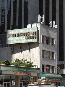 Photo of the first National Debt Clock at the original location near Times Square