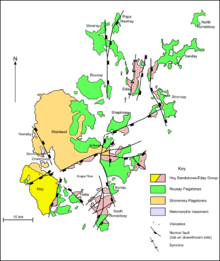 A map of the geology of Orkney. Hoy to the south west is predominantly formed from Hoy/Eday Sandstones. The Mainland at centre is largely Stromness flagstones with Rousay flagstones to the east. The North and South Isles are a mixture of Eday and Rousay sandstones.