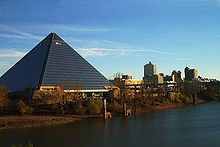 A view of the Pyramind Arena on the river