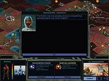 Horizontal rectangle video game screenshot that depicts a digital representation of an alien planet. In the foreground is a series of smaller screens that cover the majority of the image. The smaller screens have black backgrounds and display information about the game's current state as well as options to alter that state. In the background is a reddish-brown planetscape viewed from an isometric perspective. The planet is inhabited by small structures and life forms.