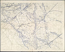 Topographical map of the area around town of Poelcappelle. The trench lines are all detailed in blue ink. No British trench lines are present except line labeled British Front Line. The German Flandern I and Flandern II Stellung are also prominently marked.