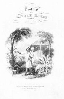 Indian man is holding a young, white boy in his arms and pointing to something. They are standing in front of palm trees and a hut.