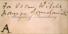 """A rectangular calling card printed with """"Marquess of Queensberry"""" in copperplate script."""