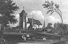 Black-and-white engraving of a church in the background, with a river flowing in the front. Two people are sitting on the bank and one is swimming. Trees frame the picture.