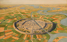 A wide valley with a meandering river and a straight canal branching off and flowing through a circular city with two concentric city walls, surrounded by agricultural fields
