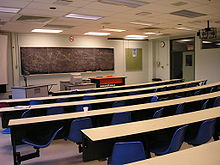 view of a classroom from the rear, with blackboard and three desks and tables at the front of the class, and five rows of long curved student desks with blue chairs attached.