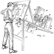 """Side view sketch of a  man standing as he draws on a transparent easel onto which a movie projector throws an image of a film frame from the rear. The sketch is annotated with numbers from 14 to 29, and carries the title """"Fig 3""""."""