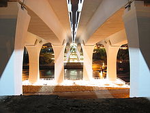A view of the new bridge from directly underneath it, looking across the river