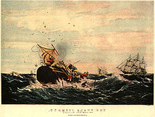 Painting of a sperm whale destroying a boat, with other boats in the background