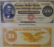 1882 Lincoln $500 gold certificate