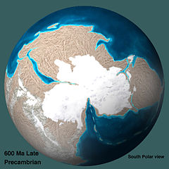 600 Ma Late Precambrian - South Polar view.jpg