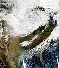 Satellite image of the United States, while the storm was at peak intensity.
