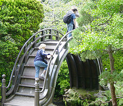 A decorative bridge in the Japanese tea garden at Golden Gate Park in San Francisco, California. Although in the shape of an arch this wooden bridge is not technically a (compression) arch bridge, being rather a beam bridge
