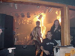 The fire at 40 seconds. Daniel Biechele is facing camera at right.