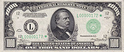 Series 1934 $1000 bill, Obverse, with Grover Cleveland