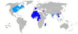 Global map of French colonial empire