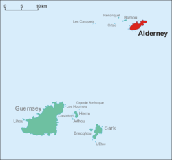 Location of Alderney in relation to Guernsey.