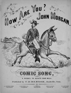 "Stylized drawing of a man on a mule, dressed in suit coat with feathers in his hat; the sheet music is entitled ""How Are You John Brown, Comic song, Sequel to Here's Your Mule."""