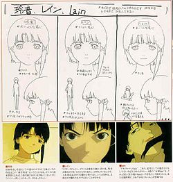 A series of drawings depicting the different personalities of Lain – the first shows shy body language, the second shows bolder body language, and the third grins in an unhinged fashion.
