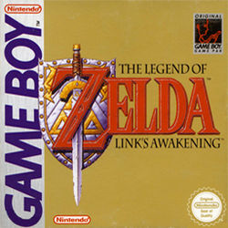 """A sword stands over a shield, and goes through the letter """"Z"""" in the title The Legend of Zelda: Link's Awakening."""