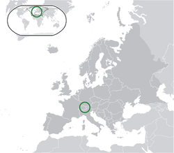 Location of  Liechtenstein  (green)in Europe  (dark grey)  —  [Legend]