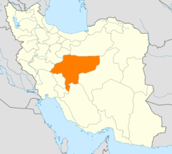 Map of Iran with Isfahan highlighted