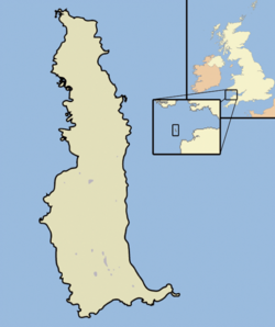 Map of Lundy with inset maps of British Isles and Bristol Channel