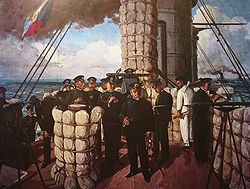 Admiral Tōgō on the bridge of Mikasa