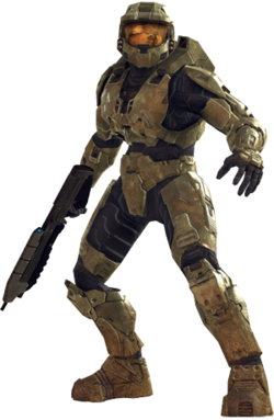 The top half of the article subject, a soldier encased in worn metal armor. He carries a black weapon resting on his shoulder, and wears a helmet with a reflective visor.