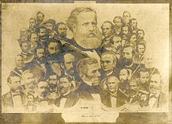 An illustration depicting the large head and shoulders of a bearded man superimposed over a large number of smaller male portrait busts