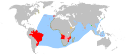 The Portuguese Empire and overseas interests.    Areas which were, at one time, territories of the Portuguese Empire   exploration   areas of influence and trade   claims of sovereignty   trading posts   main sea explorations, routes and areas of influence