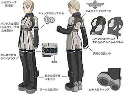 Drawings of a short-haired woman and her costume elements that resemble a modern flight gear. There are angled frontal and rear views of the woman with captions pointing out parts of her gear.