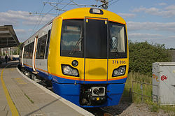A London Overground class 378 train at Willesden Junction