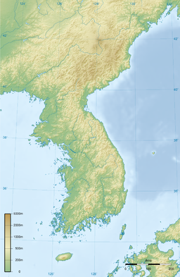 Topographic map of the Korean Peninsula