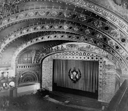 Photo of the interior of the Auditorium Theatre with a view from the balcony