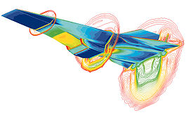 Computer-generated image of stress and shock-waves experienced by aerial vehicle travelling at high speed