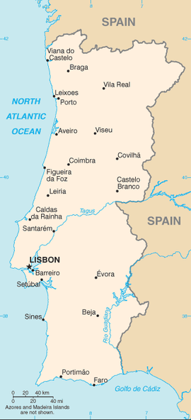 Map of Mainland Portugal