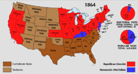 =Map of the U.S. showing Lincoln winning all the Union states except for Kentucky, New Jersey, and Delaware. The Southern states are not included.