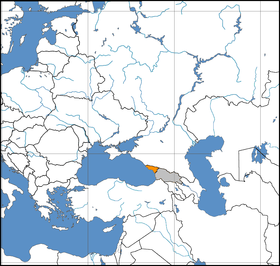 Abkhazia (orange) is situated west of Georgia proper (grey)