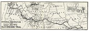 Map showing the location of Oregon Trail