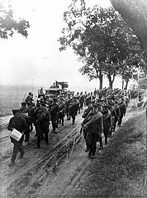 Soviet forces marching through Poland in 1939