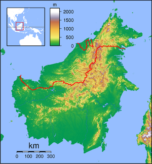 Nepenthes mollis is located in Borneo Topography
