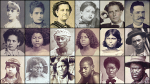 A montage of old photographic portraits of eighteen individual people arranged in three rows