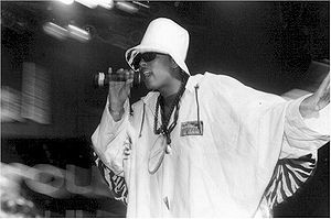 """Lead vocalist Shock G in 1991 during the group's """"Sons of the P"""" tour."""