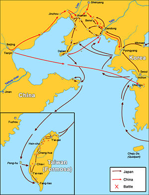 First Sino-Japanese War, major battles and troop movements