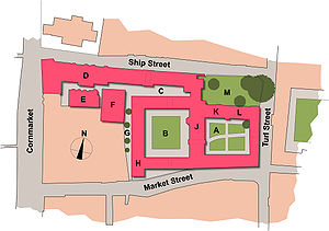 A map of two adjoining quadrangles of buildings (on an island to the north of Market Street, to the west of Turl Street, to the east of Cornmarket Street and to the south of Ship Street). The first quadrangle, on the right, includes the Principal's lodgings and the chapel; the hall is between the quadrangles, and the second quadrangle includes the Fellows' Library; to the north of the second quadrangle, a third area, long and thin, includes rooms such as the Junior Common Room and the Old Members' Building