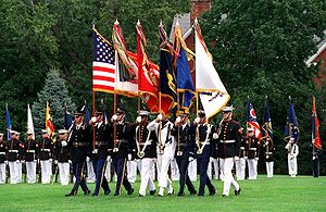 United States Joint Service Color Guard on parade at Fort Myer