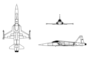 An orthographically projected diagram of the F-5E Tiger-II.